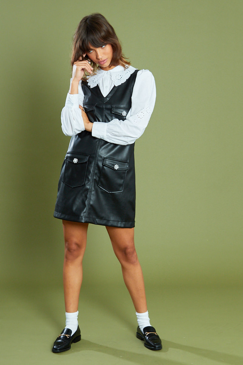 Black PU Pinafore With Crystal Buttons Mini Dress