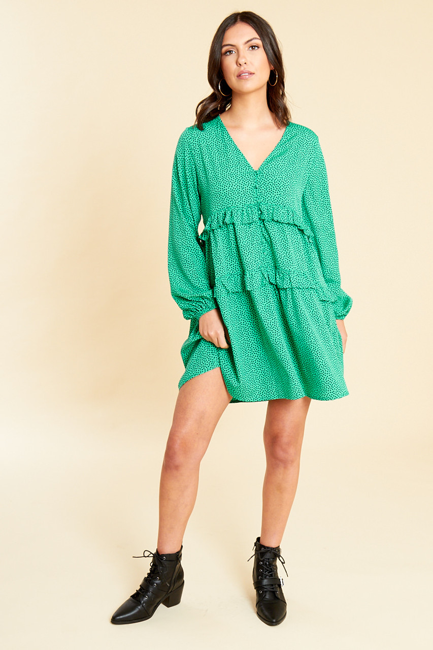 Different Ratio Green Black Splodge Print Button and Ruffle Detail Smock Dress