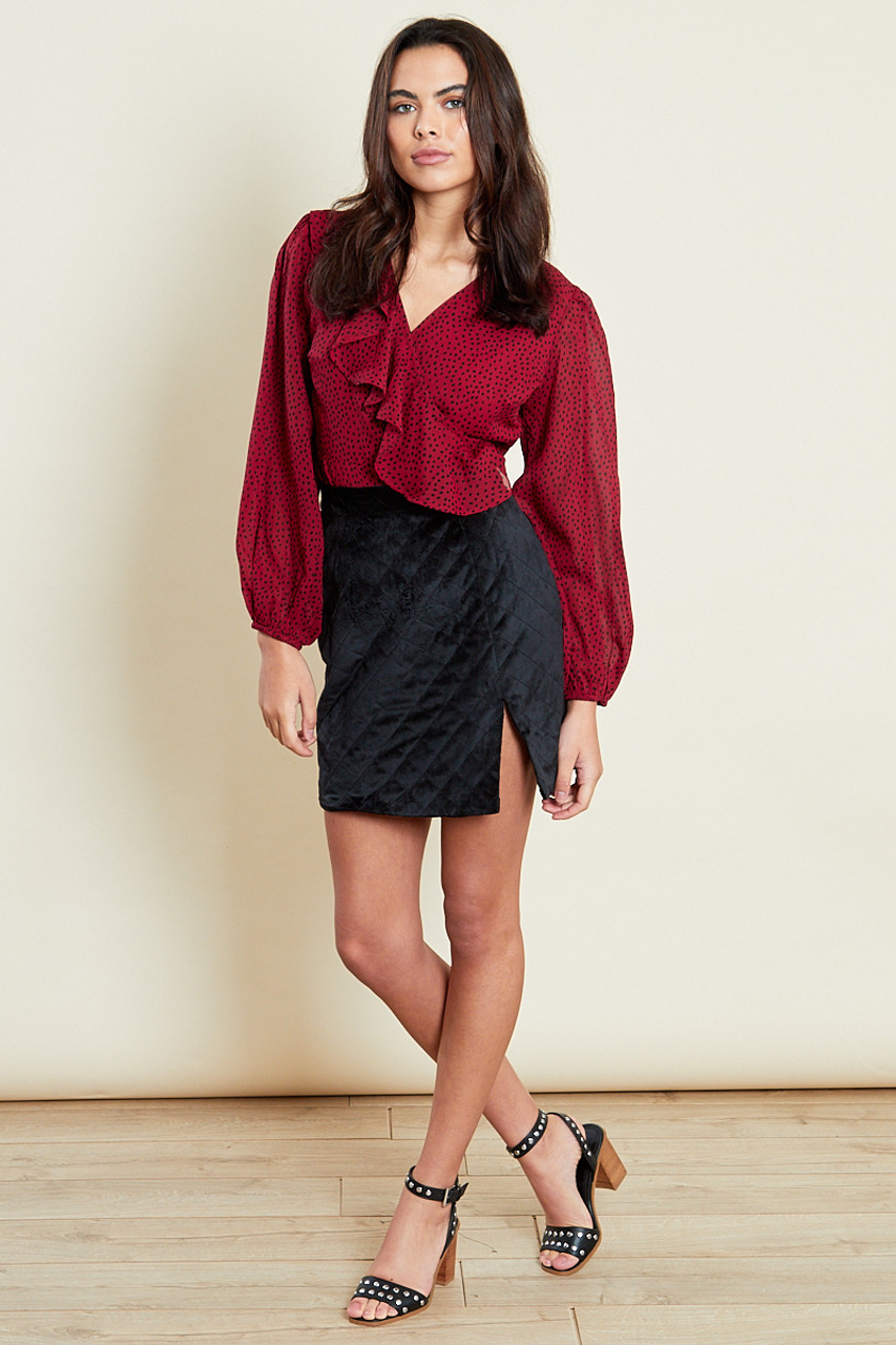 Berry Wrap Frill Long Sleeves Top