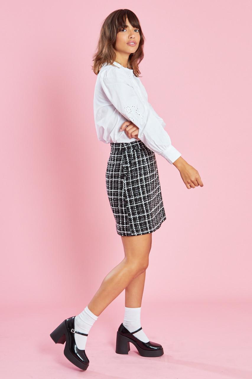 Black Tweed Mini Skirt