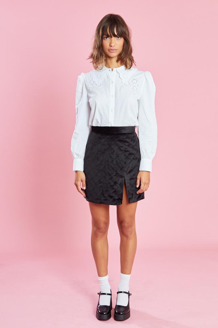 Black Diamond Quilted Velvet Mini Skirt With Split