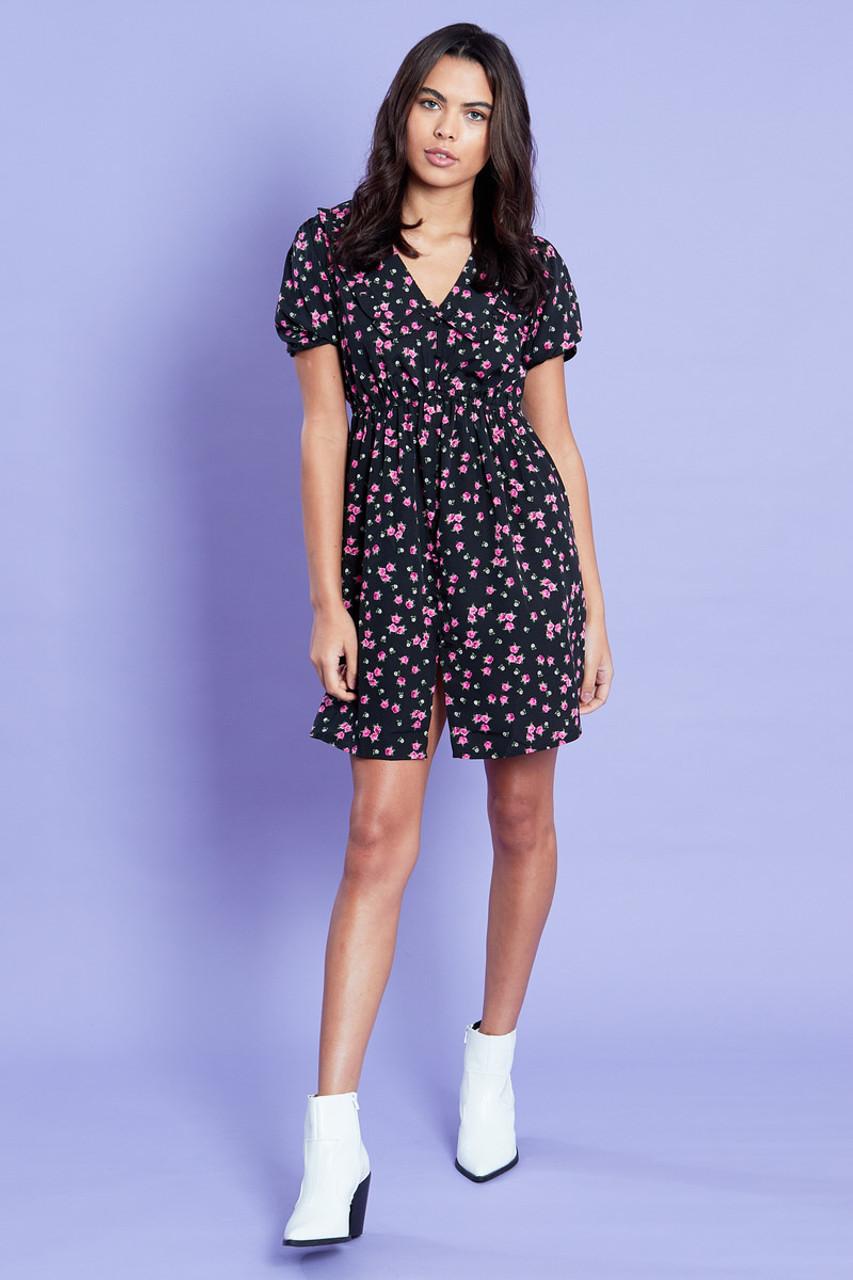 Ditsy Print Collar Mini Dress