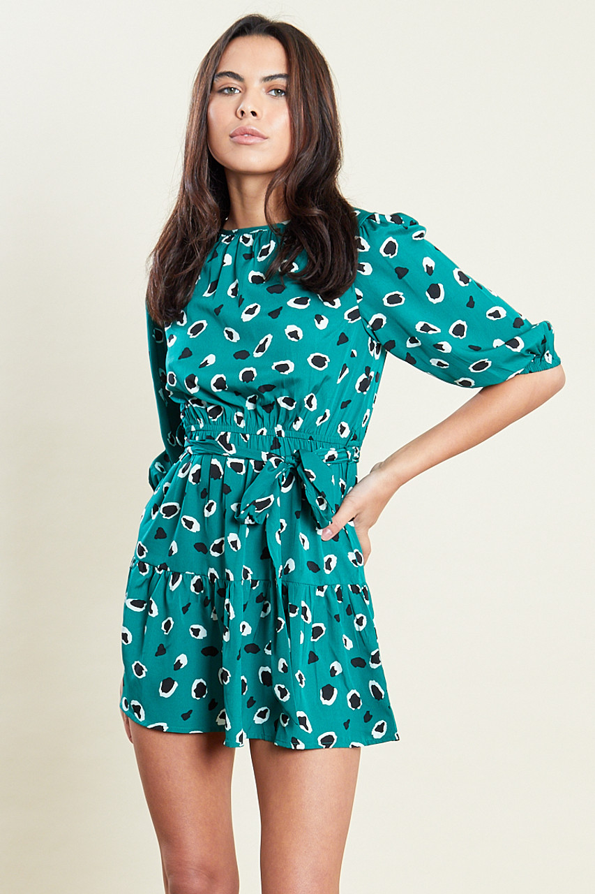 Green Abstract Animal Print Mini Dress