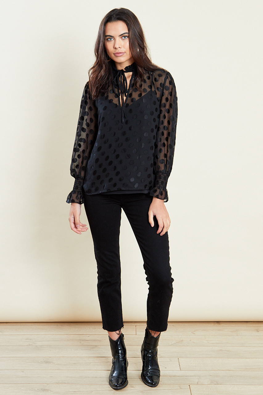 Black Shirred Neck Long Sleeves Top