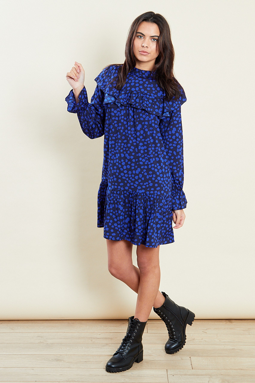 Blue Long Sleeves Frill Dropped Hem Mini Dress