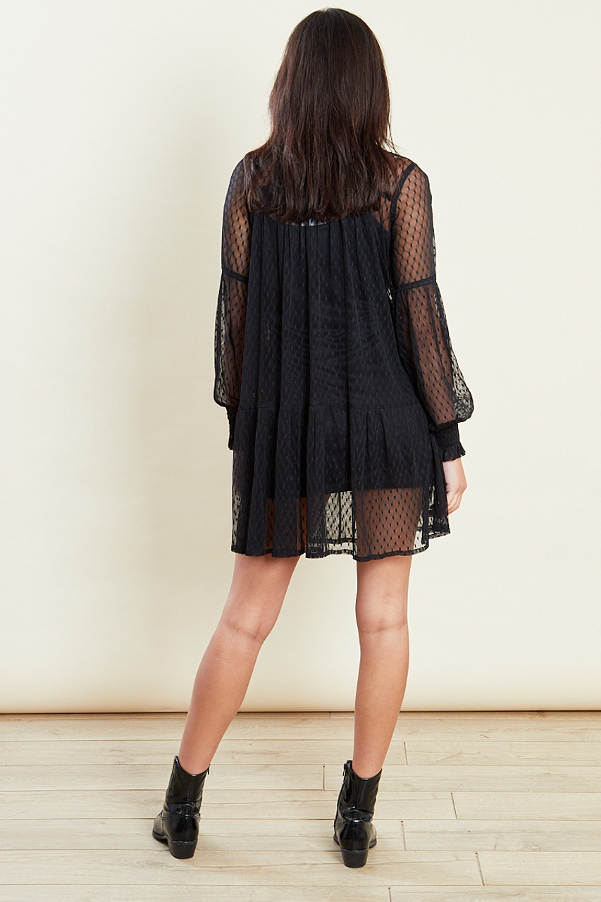 Black Balloon Sleeves Mesh Smock Mini Dress