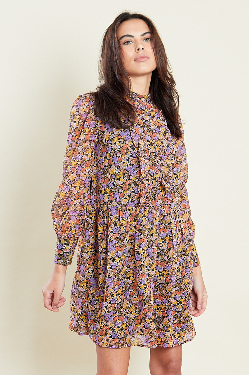 Ruffle Placket Smock Mini Dress