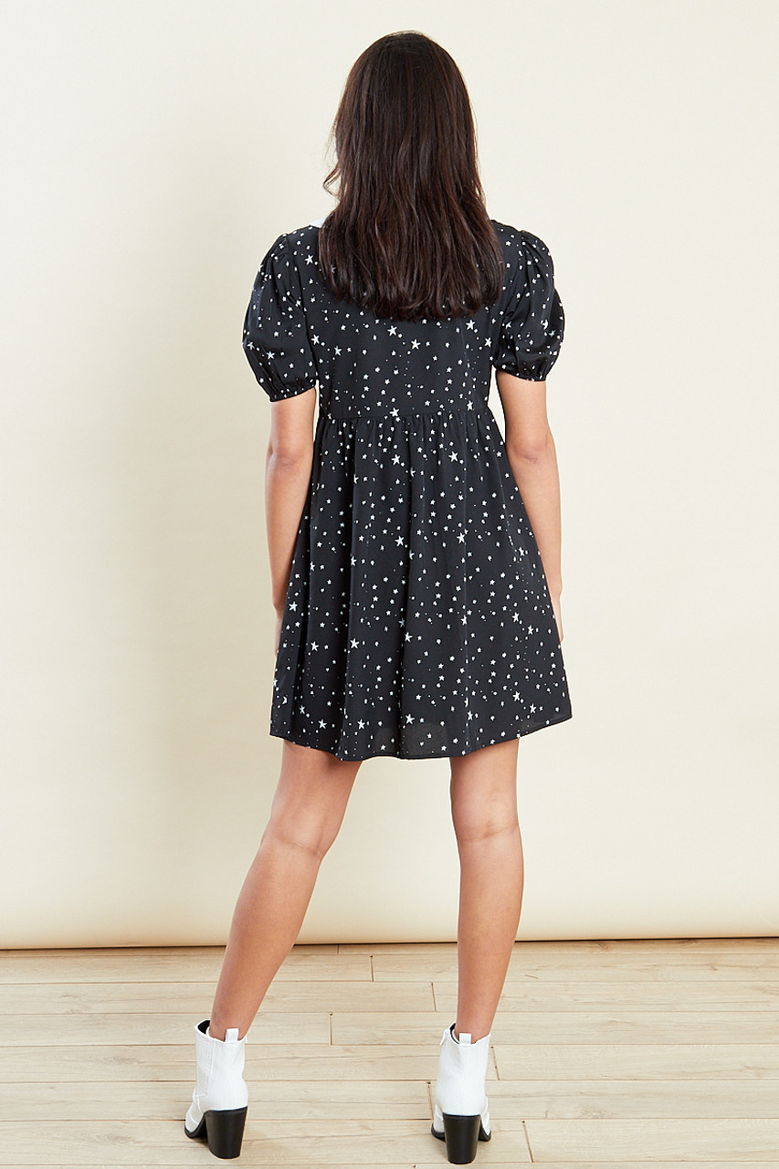 Black Plunge White Collar Tea Mini Dress