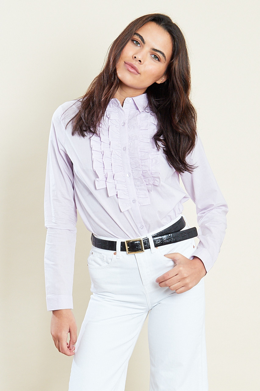 Lilac Long Sleeves Cotton Ruffle Shirt
