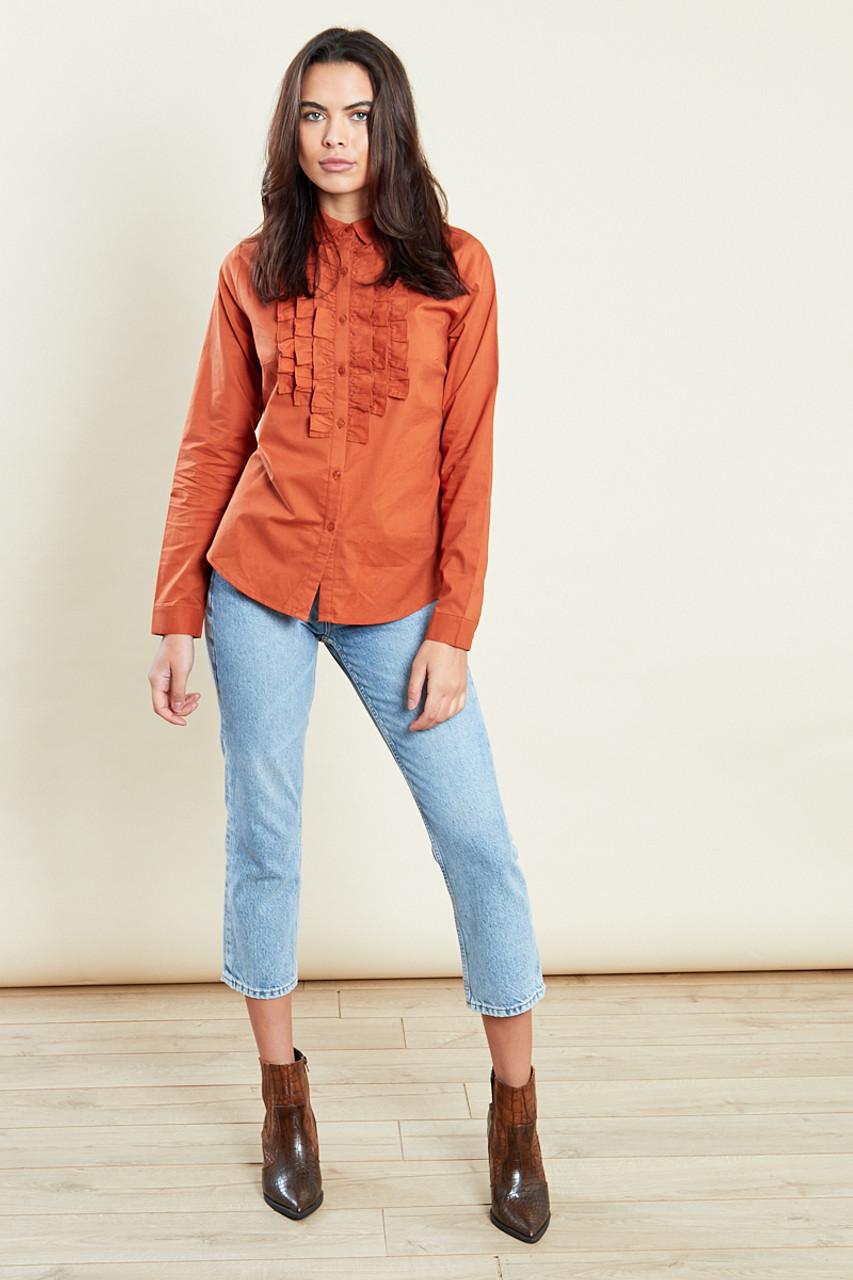 Rust Long Sleeves Cotton Ruffle Shirt