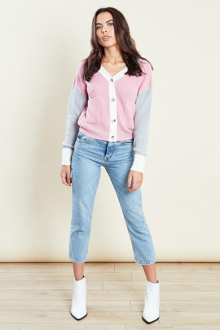 Multi Colour Block Cardigan
