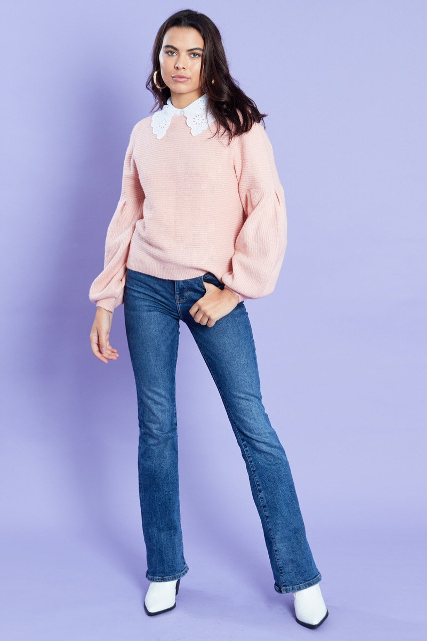 Drop Sleeve With Dramatic Puff Knit Jumper