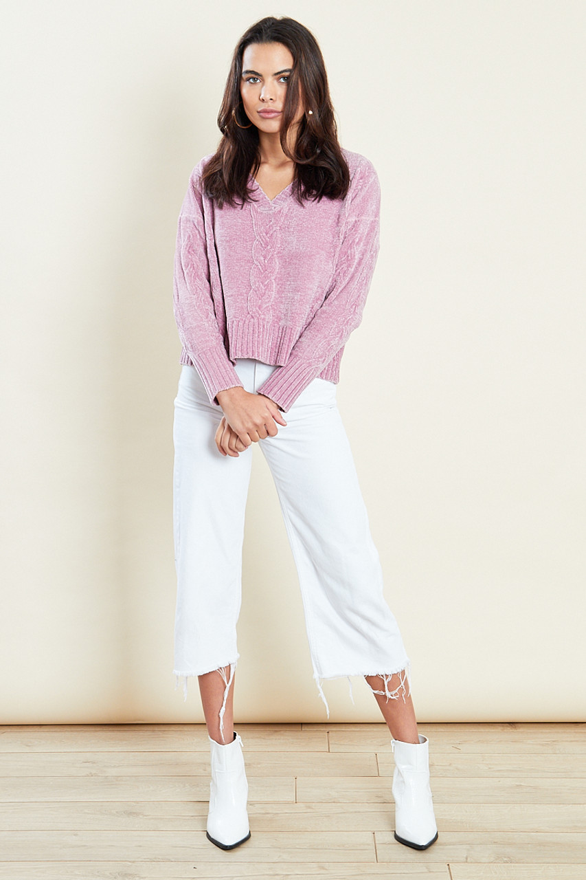 Pink Cropped Jumper With Cable Placement