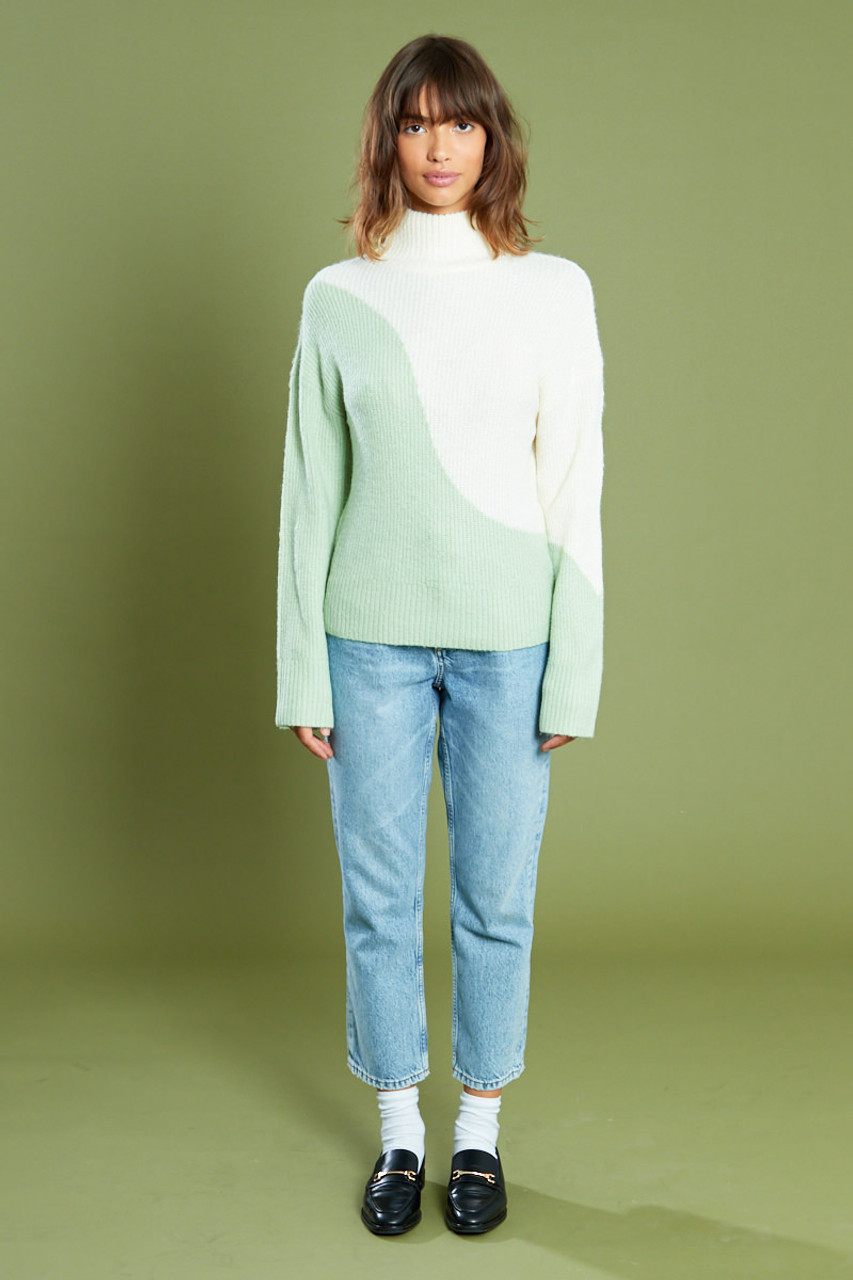 Swirl Colour Block Jumper With Roll Neck