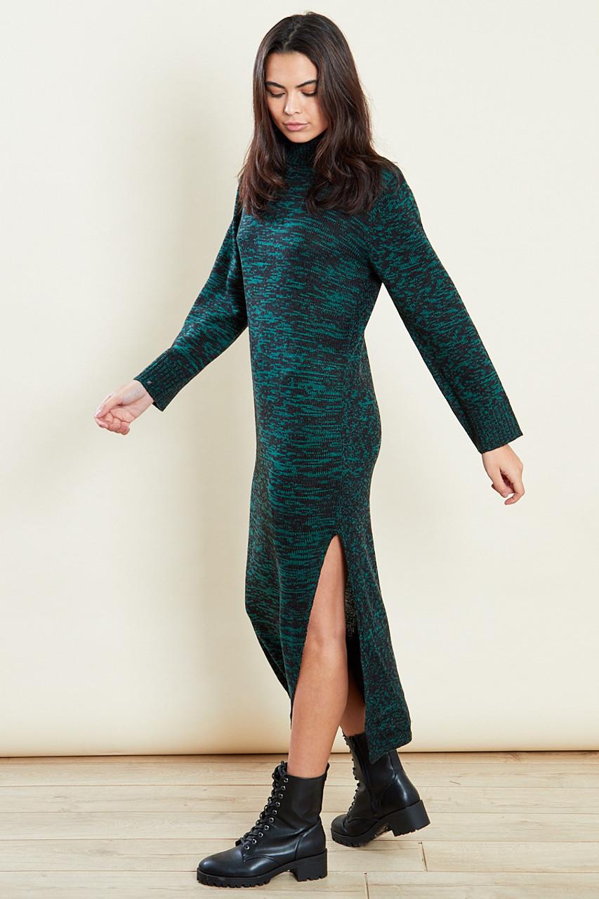 Green Roll Neck Marled Dress