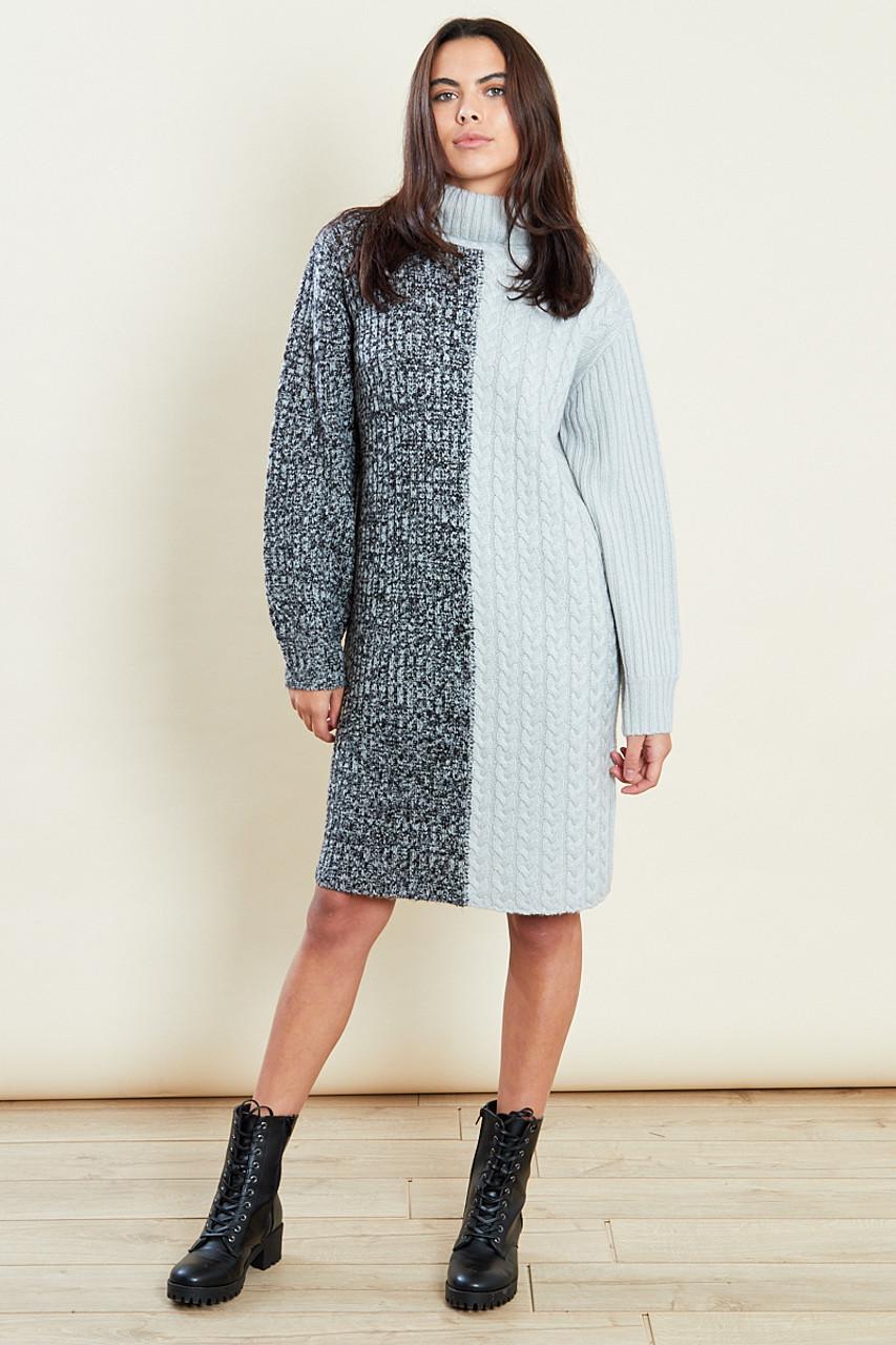 Grey Roll Neck Mix Cable Jumper Dress