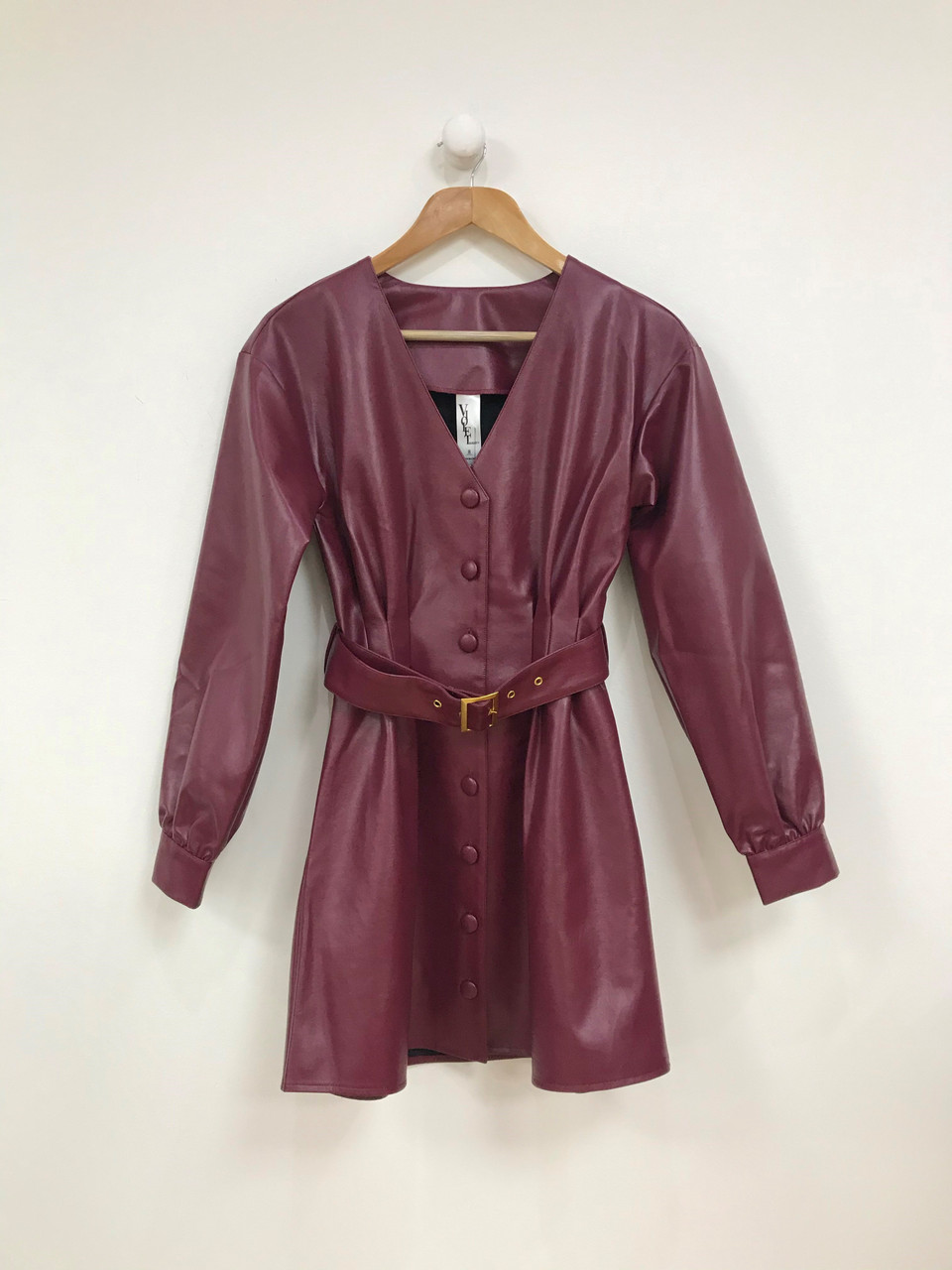 Burgundy Button Through PU Dress