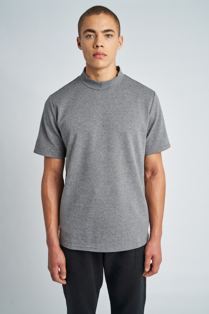 Grey Adrian High Neck Short Sleeve T-Shirt