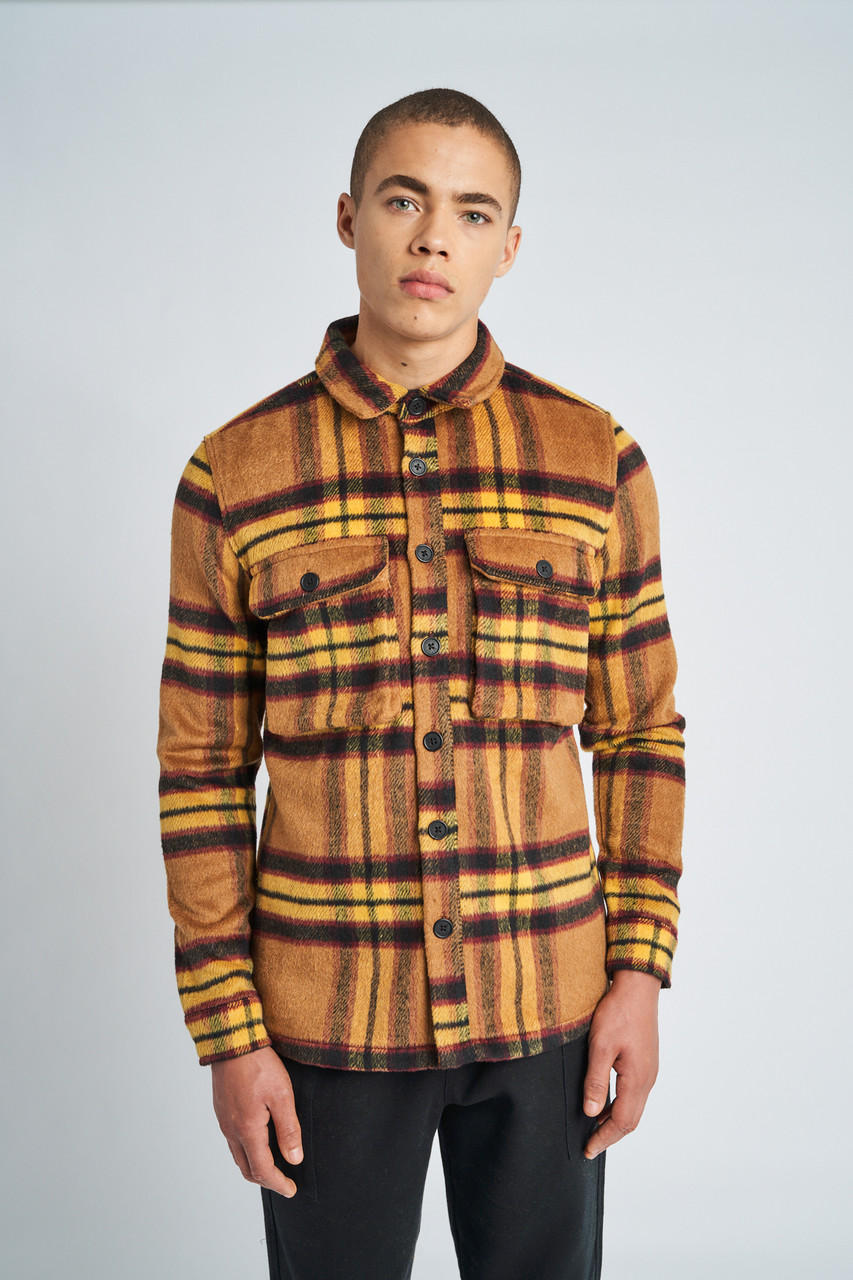 Yellow Jackson Brushed Wool Check Overshirt