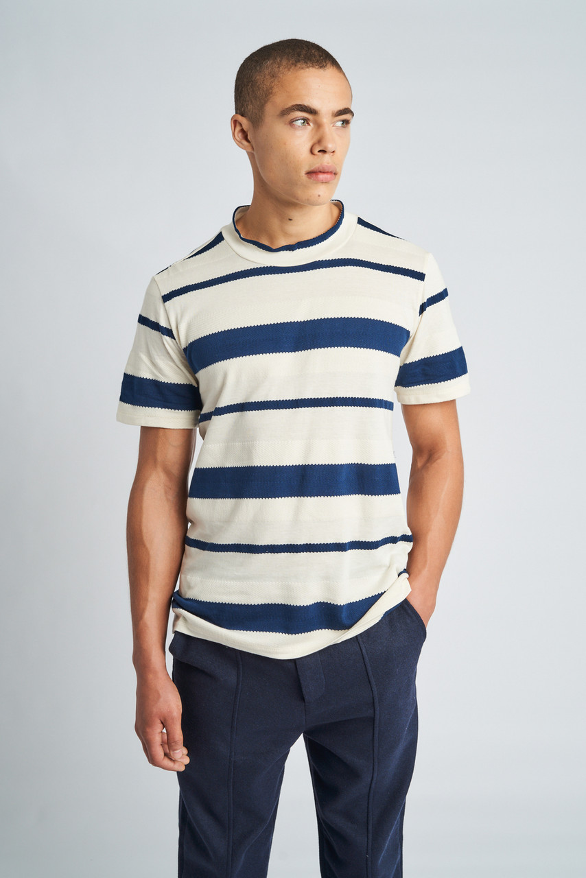 Preston Textured Stripe High Neck T-Shirt