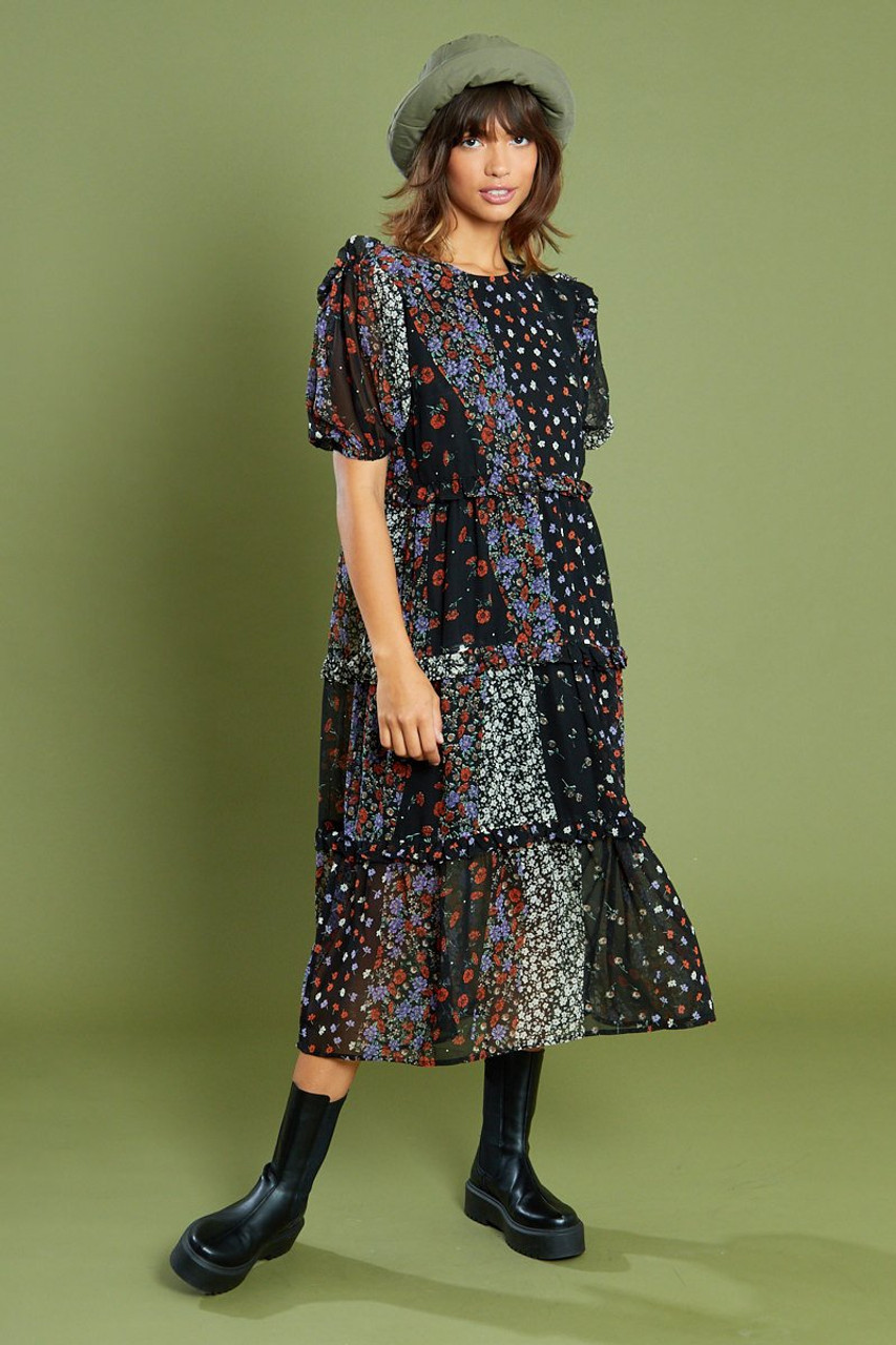Floral Print Midi Tiered Ruffle Detail Smock Dress