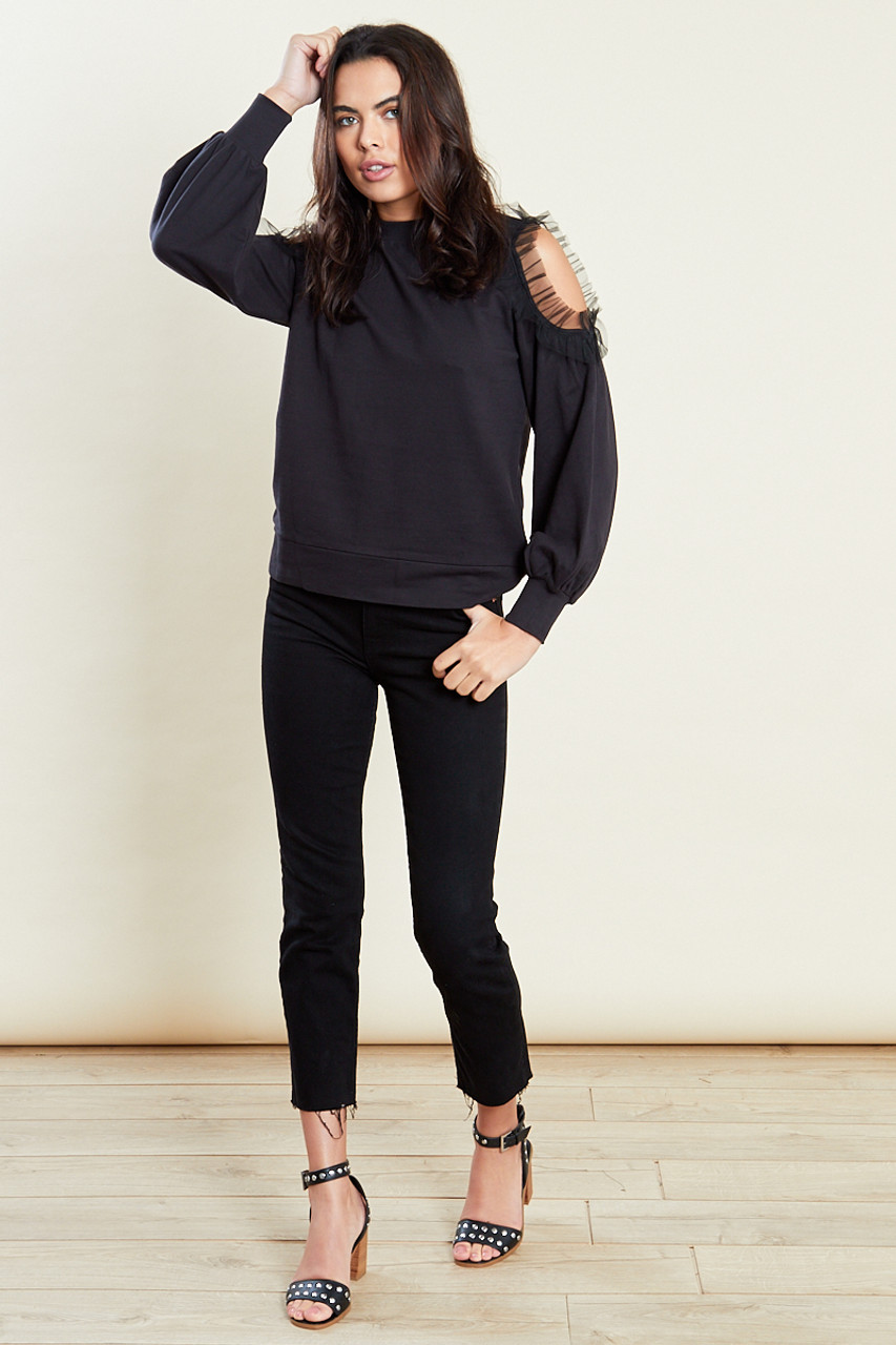 Black Sweatshirt With Cold Shoulder And Mesh Frill
