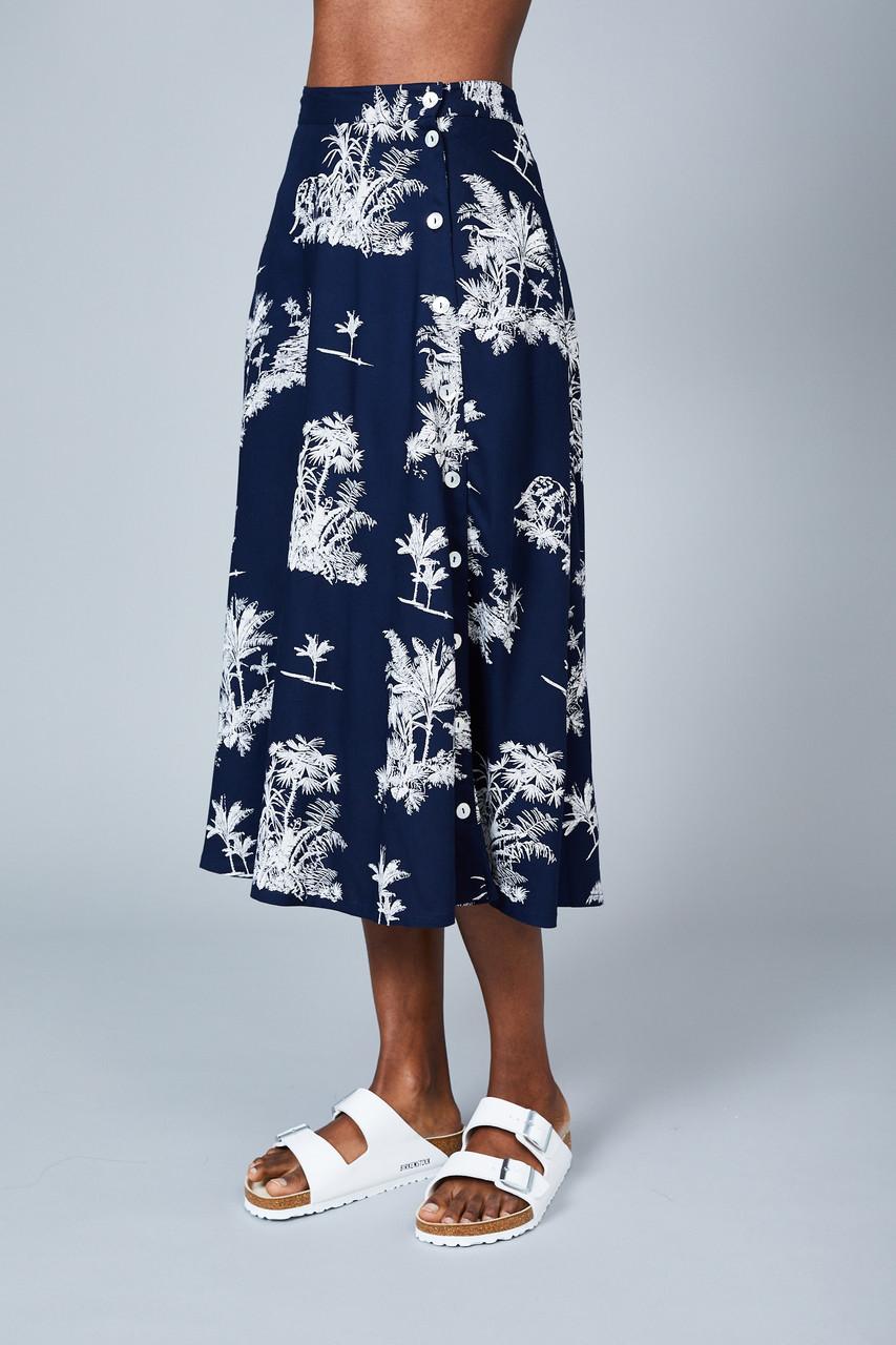The Isla All-Over Navy & White Skirt