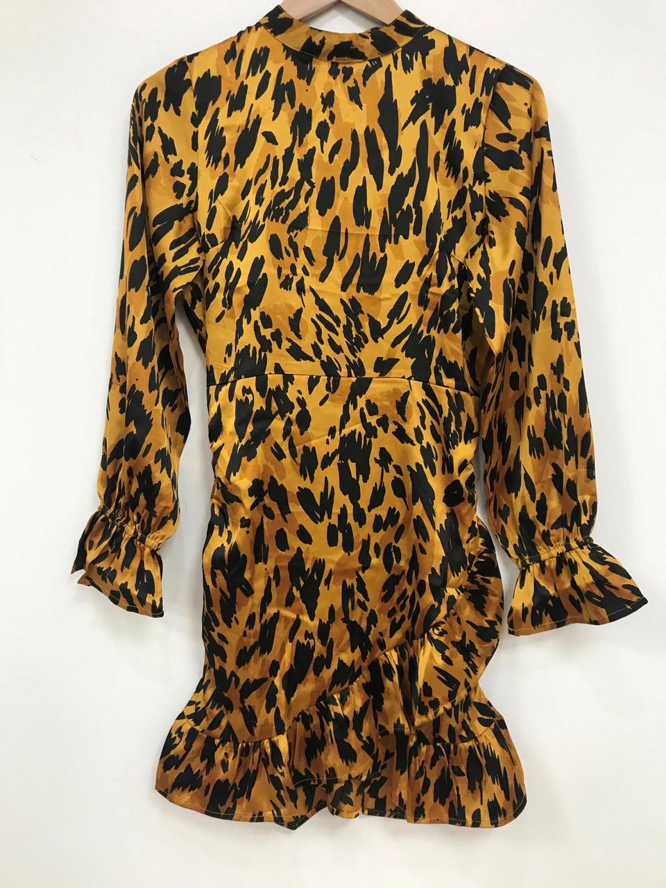 Tan Rouched Wrap Ruffle Mini Dress