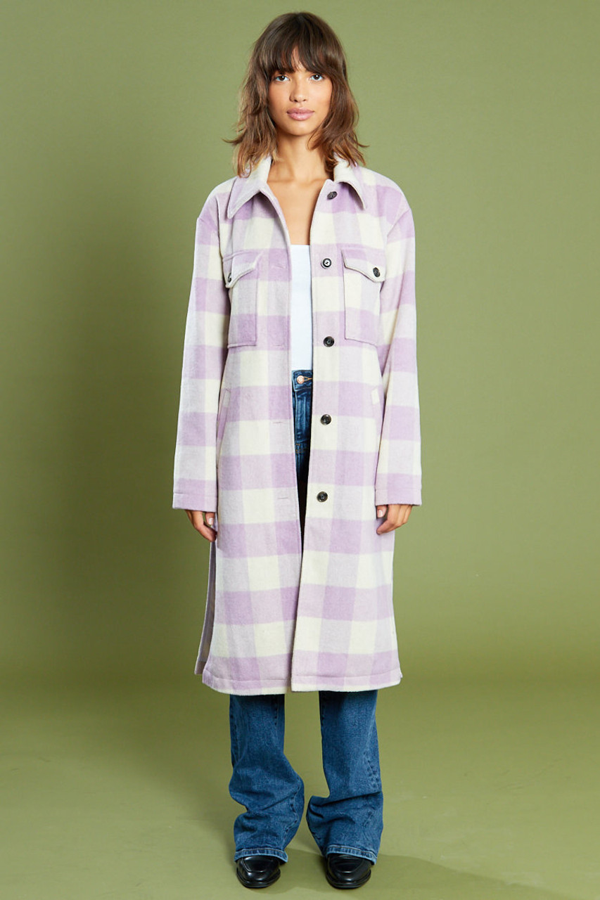 Multi Outerwear Maxi Check Wool Lock Jacket