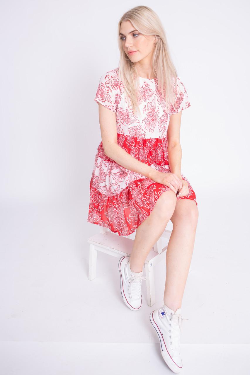 Mix Print Tiered Smock Mini Dress