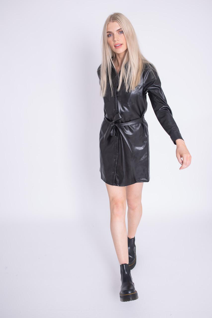 Black PU Shirt Dress With Self Fabric Belt