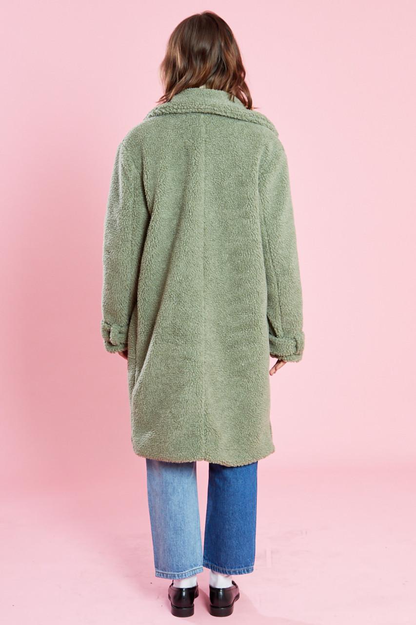 Sage Green Oversized Longline Borg Coat