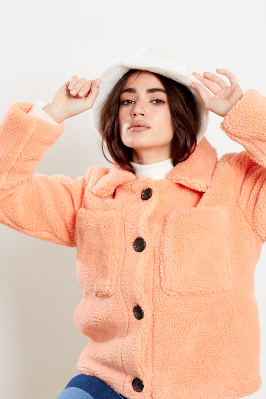 Coral Outer Wear Borg Trucker Jacket