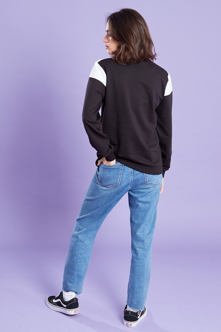 Colour Block Zip Sweat Shirt
