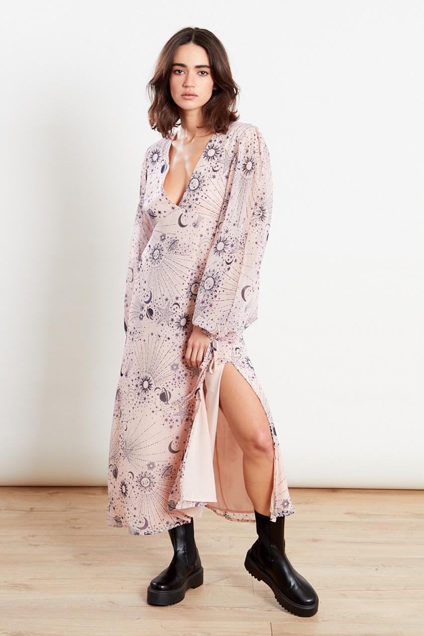 Moon And Star Print Skater Midi Dress