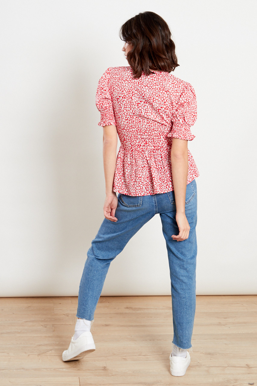 Red Shirred Sleeves Tea Blouse