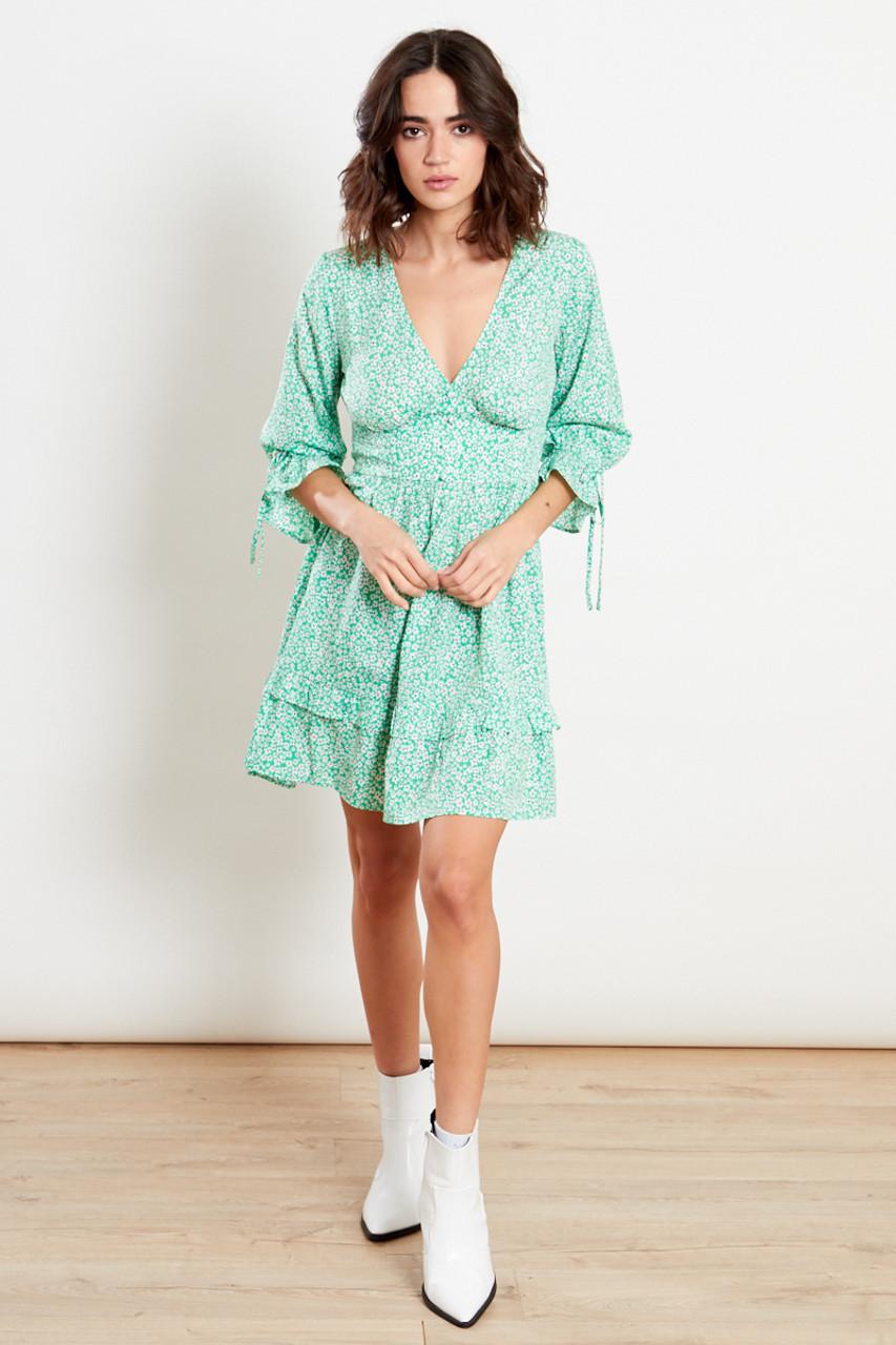 Green Tie Cuff Plunge Midi Dress