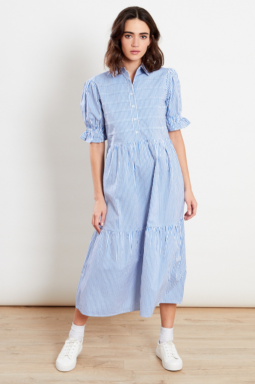 Blue & White Stripe Midi Shirt Dress