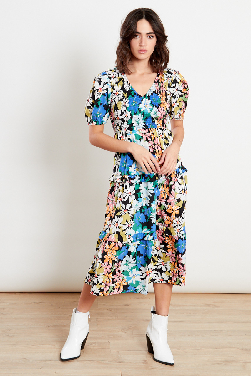 Black V-Neck Shirred Floral Midi Dress