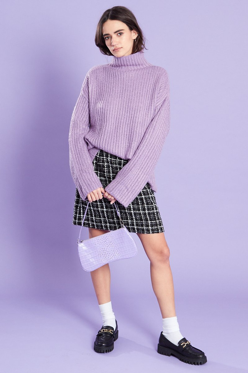 Funnel Neck Ribbed Jumper Lilac