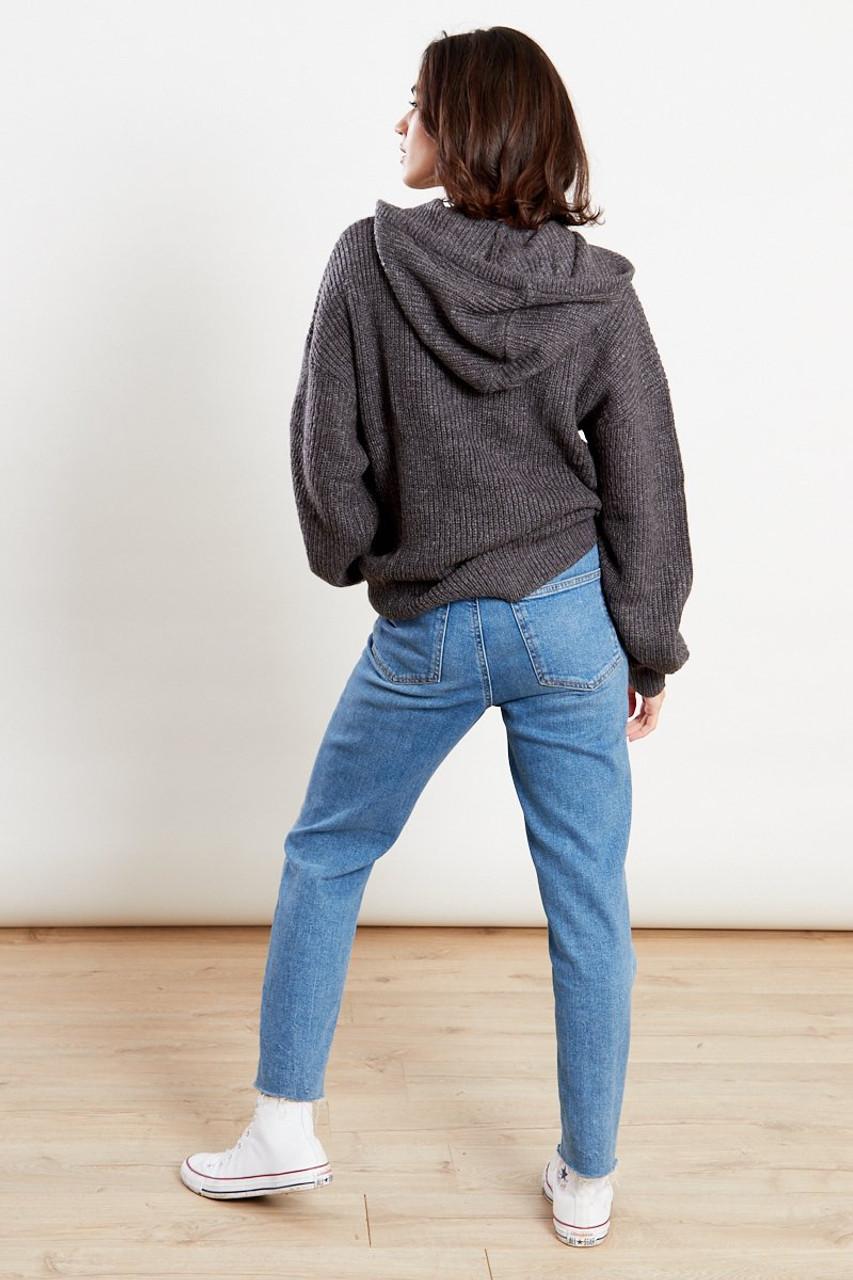 Hoodie Knit Jumper Grey