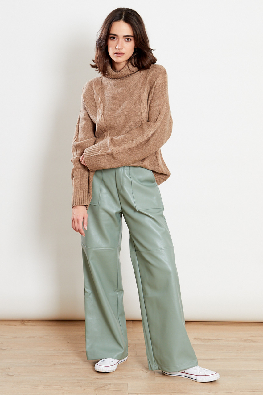 Roll Neck Cable Knit Jumper Oatmeal