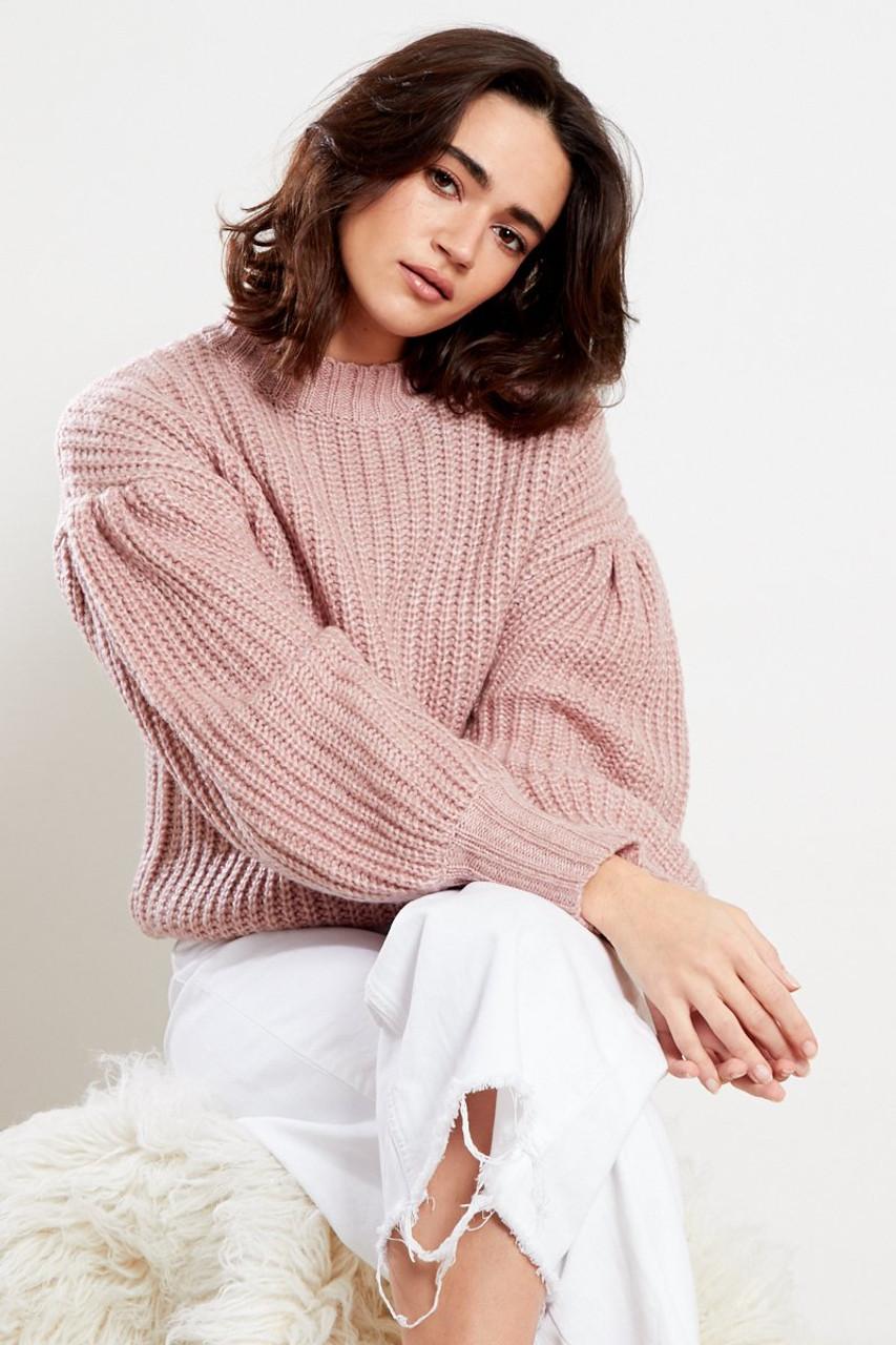 Puff Sleeve Knitted Jumper Oatmeal