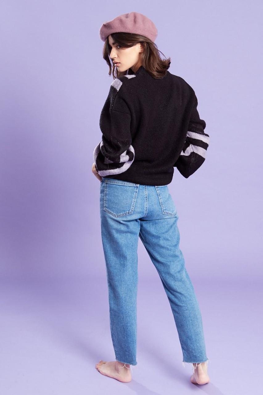Chevron Print Knitted Jumper Black