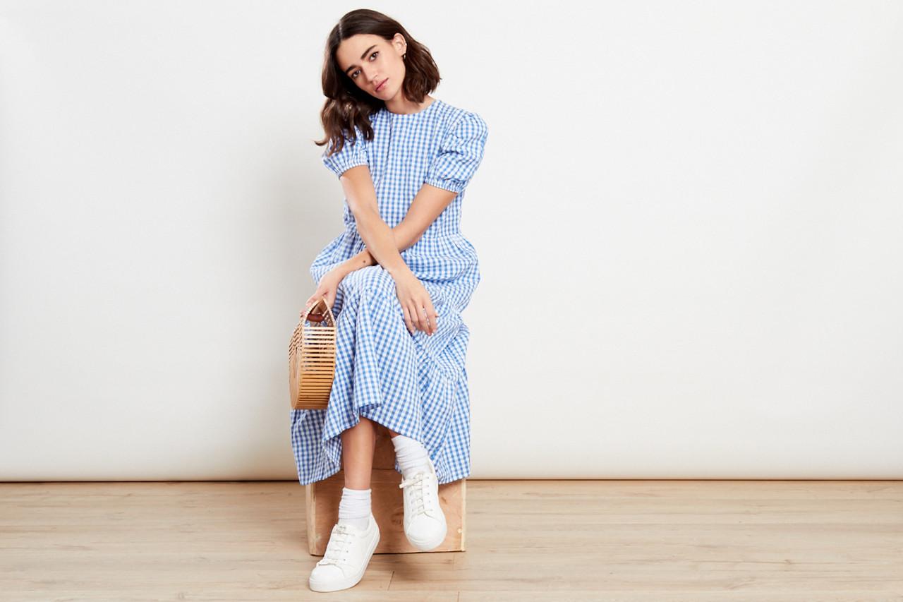 Gingham Blue Midi Dress