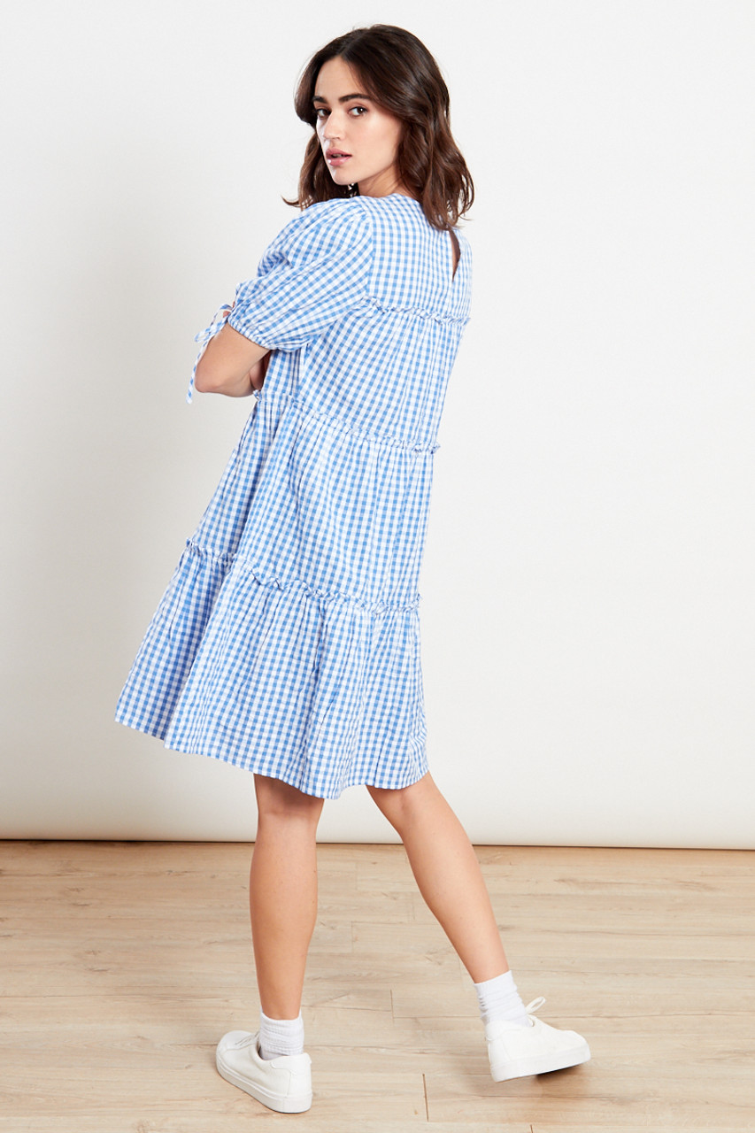 Gingham Blue Tier Mini Dress
