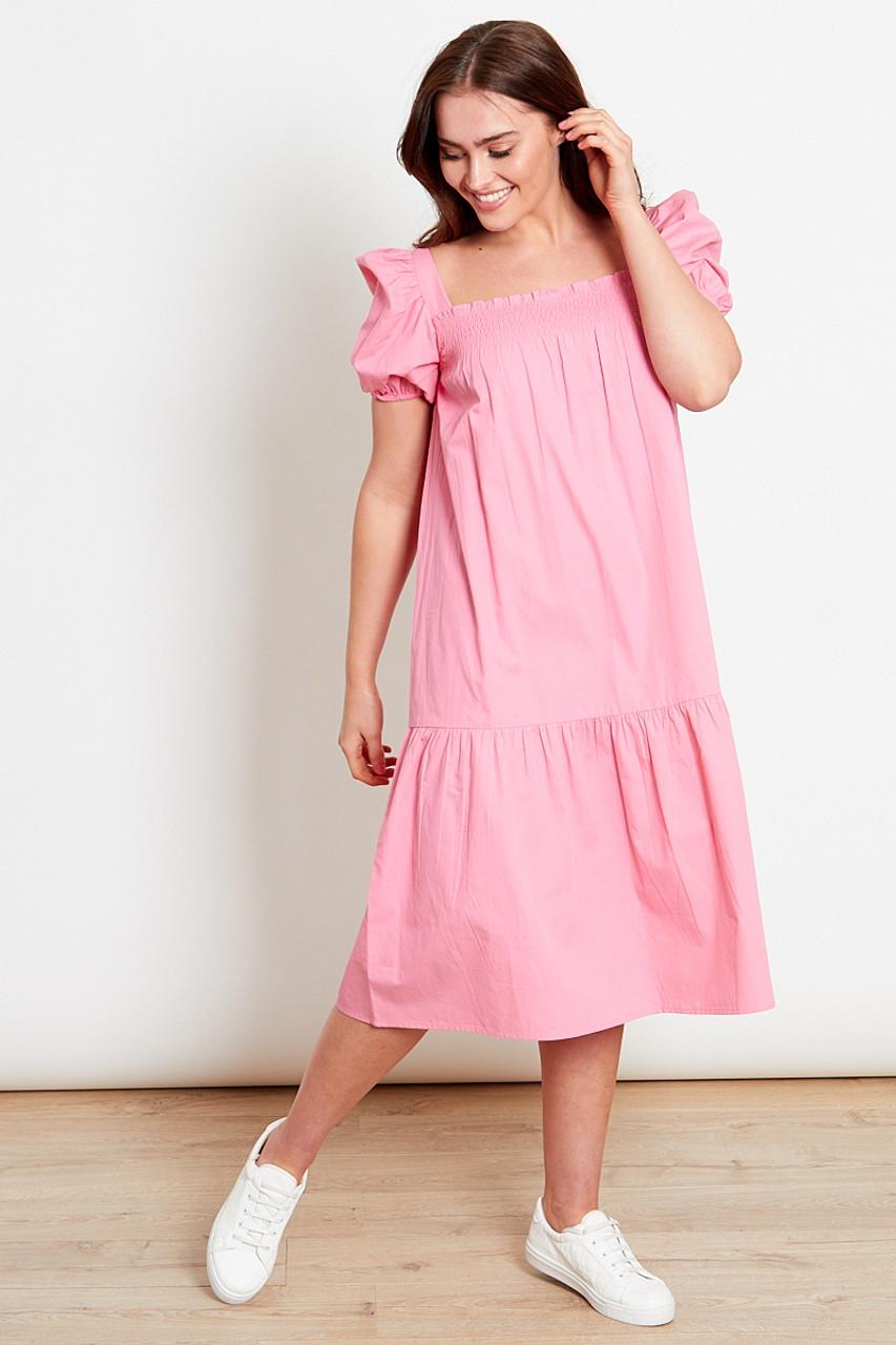 Pink Shirred Puff Sleeves Dropped Hem Midi Dress