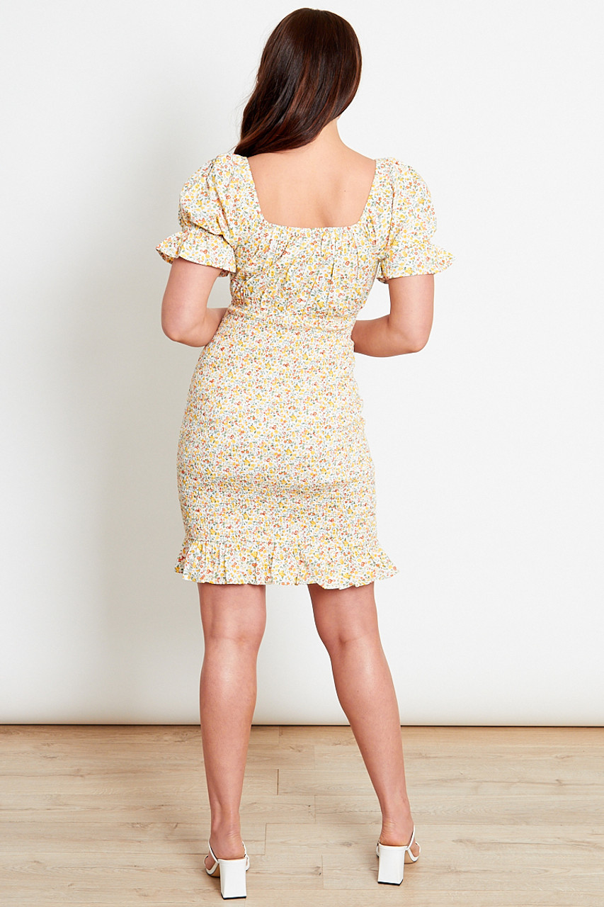 Yellow Ditsy Cotton Ruched Mini Dress