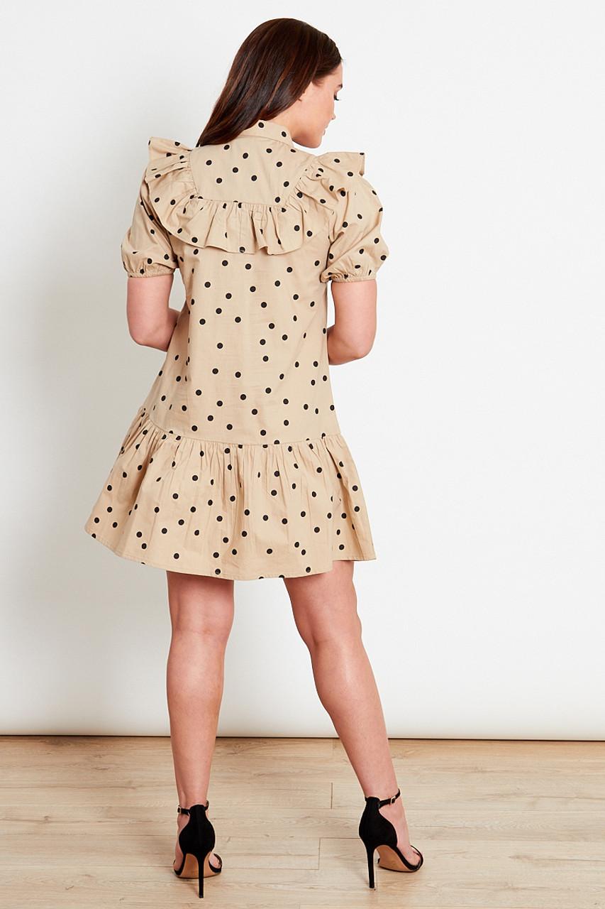 Tan With Black Polka Dot Mini Shirt Dress