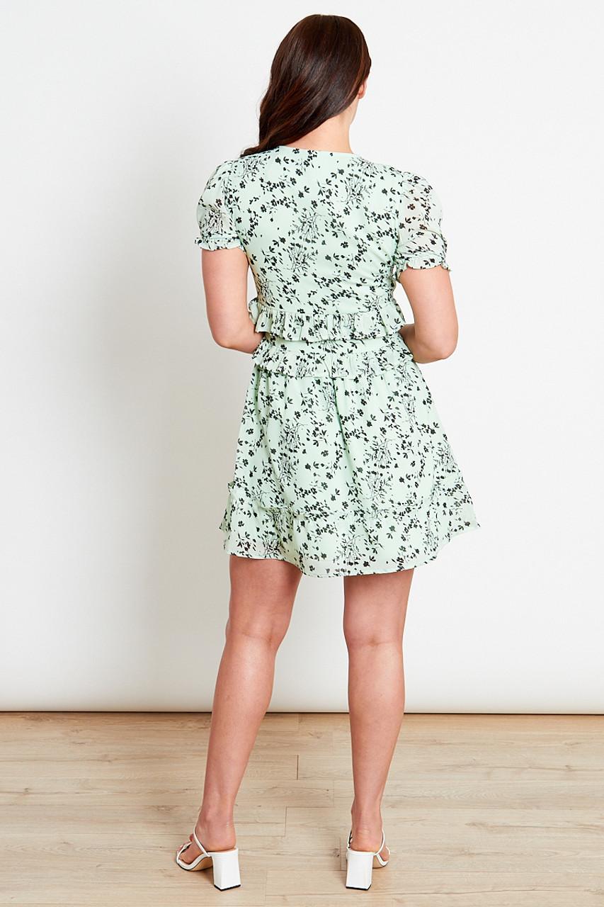 Sage Floral Skater Mini Dress